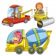 Set of construction vehicle animal cartoon. — Stock Photo #51372421