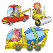 Set of construction vehicle animal cartoon. — Stock Photo