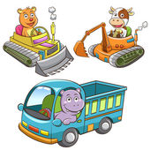 Satz von bau fahrzeug tierische cartoons. — Stockfoto