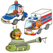 Animal vehicle Occupation cartoon. — Foto de Stock