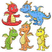 Dragon cartoon set — Photo