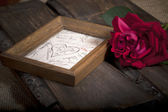 Photo frame and rose — Stock Photo