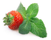 Strawberry and mint isolated — Stockfoto