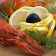 Crayfish and lemon isolated. — Photo
