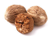 Nutmeg isolated on white — Stock Photo