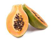 Ripe papaya  on white — Stock Photo
