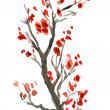 Image in Japanese style. Blooming bright red flowers of the tree branch. watercolor — 图库照片
