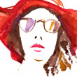 Stock Photo: Face with glasses and hat. watercolor