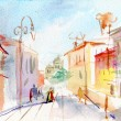 Stock Photo: Illustrated Parisistreet . watercolor