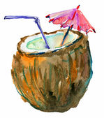Coconut Cocktail, watercolor illustration — Stock Photo