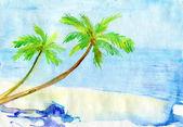 Pintado em aquarela paisagem tropical com palmeira — Foto Stock