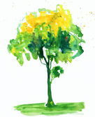 Tree. watercolor — Stock Photo