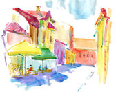 Illustrated Parisian street, watercolor, self made — Stock Photo