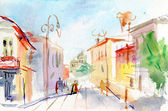 Illustrated Parisian street . watercolor — Stock Photo