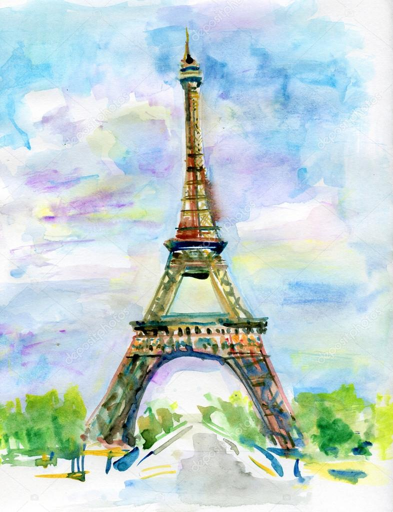 City Of Paris In Watercolor Painting The Eiffel Tower Stock