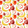 Seamless pattern of red and yellow fruits and berries — Stock Photo #26502433
