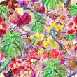 Stock Photo: Seamless watercolor pattern, flortropical flowers, birds and leaves.