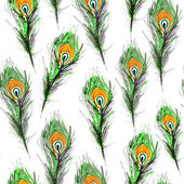 Green Peacock Feathers pattern. watercolor — Stock Photo