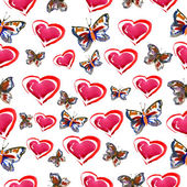 Watercolor pattern of hearts and butterfly — Stock Photo