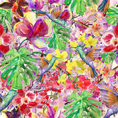 Seamless watercolor pattern, flora tropical flowers, birds and leaves. — Stock Photo