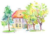 Watercolors house — Stock Photo