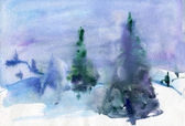 Winter landscape. Watercolor background — Zdjęcie stockowe