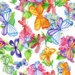 Butterflies and orchids. seamless pattern. watercolor. — Stock Photo