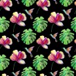 Seamless watercolor pattern, flora tropical flowers, birds and leaves on black — Stock Photo