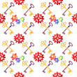 Seamless cogs and key repeat pattern — Stock Photo