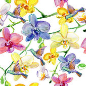 Seamless floral pattern orchids — Stock Photo