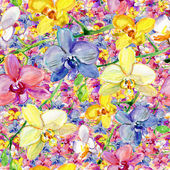 Watercolor hand painted background with orchids — Stock Photo