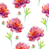 Seamless pattern with peony flowers. Watercolor illustration — Stock Photo