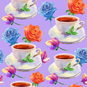 Seamless watercolor background with cups and flowers — Stock Photo