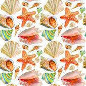 Ilustración acuarela conchas y estrellas de mar — Foto de Stock