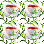 Seamless watercolor background with cups and green leaves — Stock Photo