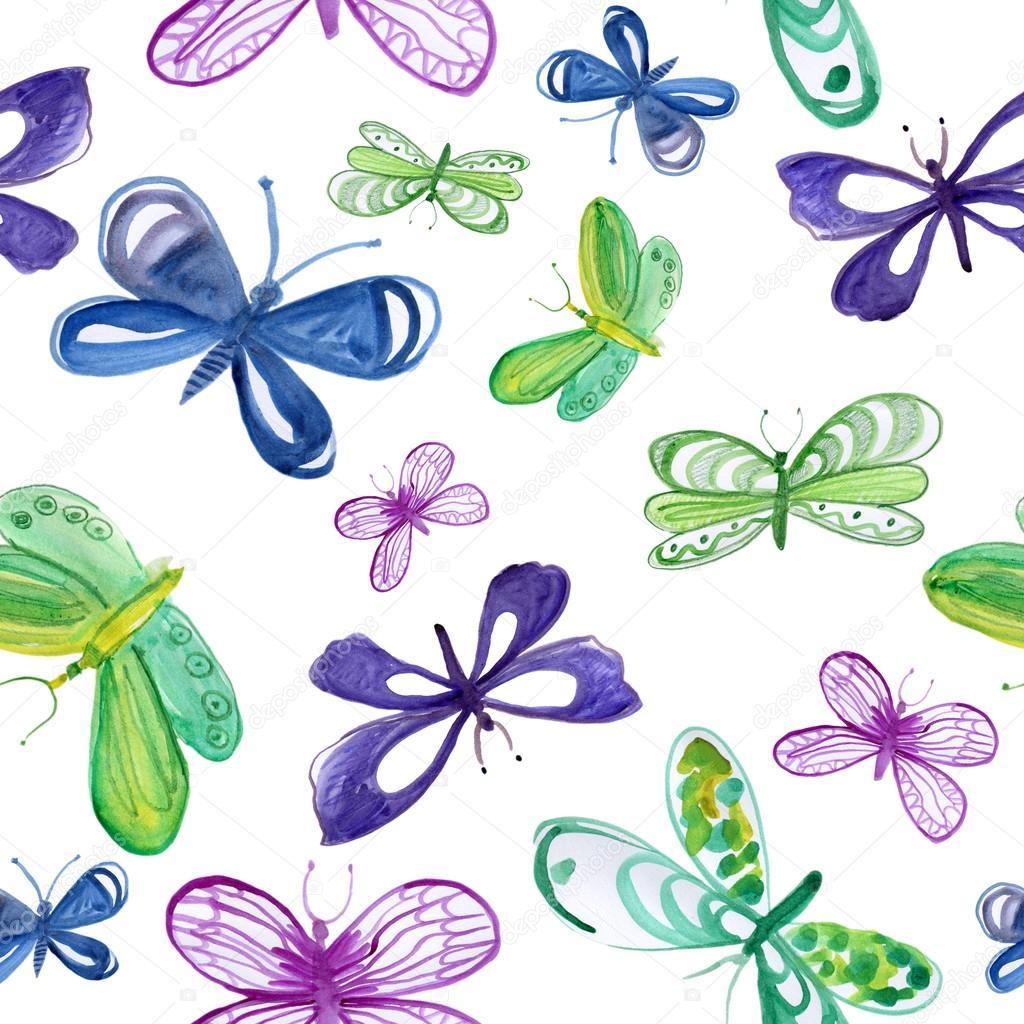 无缝模式与蓝色, 绿色, 紫色蝴蝶