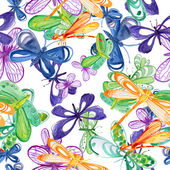 Seamless pattern with butterflies and dragonflies — Stock Photo