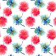 Watercolor illustration of blue and red flowers — Stock Photo