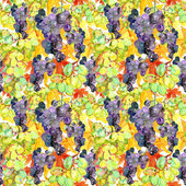Seamless pattern with watercolor illustration of grapes with leaves — Stock Photo
