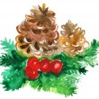 Christmas pine with decorations — Stock Photo