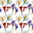 Calla Lily flowers, watercolor illustration, seamless pattern — Stock Photo