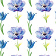 Seamless wallpaper with Summer blue flowers, watercolor illustration — Stock Photo #37705677