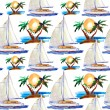 Watercolor seamless pattern. yacht and palm tree — Stock Photo
