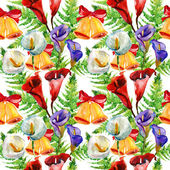 Calla Lily flowers, fern and bells, watercolor illustration, seamless pattern — Stock Photo