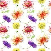 Ilustración acuarela con hermosos crisantemos, — Foto de Stock