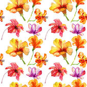 Seamless pattern with Original red and orange flowers, watercolor illustration — Stock Photo