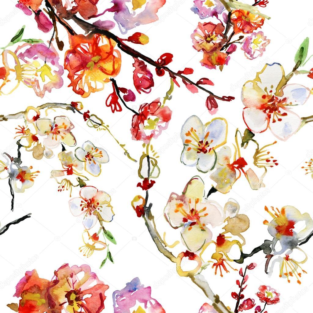 美丽的水彩画无缝模式与樱花的花