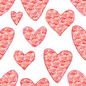 Watercolor heart with floral pattern — Stock Photo