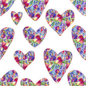 Watercolor hearts with flowers — Stock fotografie
