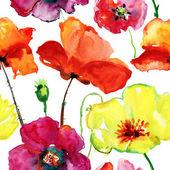 Stylized Poppy flowers — Stock Photo
